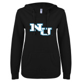 ENZA Ladies Black V Notch Raw Edge Fleece Hoodie-NU Athletic Mark
