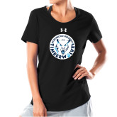 Ladies Under Armour Black Charged Cotton Tee-Primary Athletic Mark