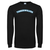 Black Long Sleeve T Shirt-Timberwolves Arched
