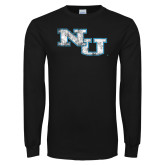Black Long Sleeve T Shirt-NU Athletic Mark Distressed