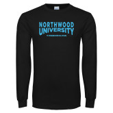 Black Long Sleeve T Shirt-Northwood University Arched over Timberwolves