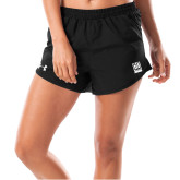 Ladies Under Armour Fly By Black Shorts-Institutional Mark Vertical