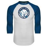 White/Royal Raglan Baseball T Shirt-Primary Athletic Mark