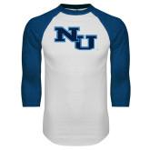 White/Royal Raglan Baseball T Shirt-NU Athletic Mark