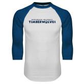 White/Royal Raglan Baseball T Shirt-Northwood University Timberwolves Wordmark