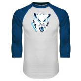 White/Royal Raglan Baseball T Shirt-Timberwolf Head