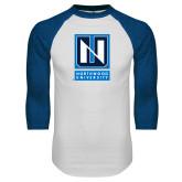 White/Royal Raglan Baseball T Shirt-Institutional Mark Vertical