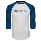 White/Royal Raglan Baseball T Shirt-Institutional Mark Horizontal