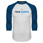 White/Royal Raglan Baseball T Shirt-True North