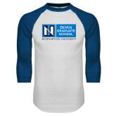 White/Royal Raglan Baseball T Shirt-DeVos Graduate School