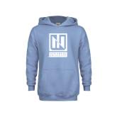 Youth Light Blue Fleece Hoodie-Institutional Mark Vertical