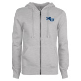 ENZA Ladies Grey Fleece Full Zip Hoodie-NU Athletic Mark
