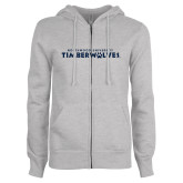 ENZA Ladies Grey Fleece Full Zip Hoodie-Northwood University Timberwolves Wordmark