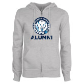 ENZA Ladies Grey Fleece Full Zip Hoodie-Alumni with Athletic Mark
