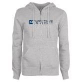 ENZA Ladies Grey Fleece Full Zip Hoodie-Institutional Mark Horizontal