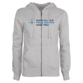 ENZA Ladies Grey Fleece Full Zip Hoodie-Where Will Your True North Lead You