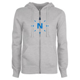 ENZA Ladies Grey Fleece Full Zip Hoodie-North Compass