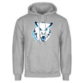 Grey Fleece Hoodie-Timberwolf Head