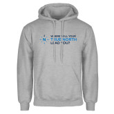 Grey Fleece Hoodie-Where Will Your True North Lead You