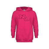 Youth Raspberry Fleece Hoodie-NU Athletic Mark Foil