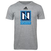 Adidas Sport Grey Logo T Shirt-Institutional Mark Vertical