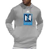 Adidas Grey Team Issue Hoodie-Institutional Mark Vertical