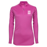 Ladies Syntrel Interlock Raspberry 1/4 Zip-Institutional Mark Vertical