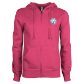 ENZA Ladies Fuchsia Fleece Full Zip Hoodie-Primary Athletic Mark
