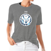 Ladies Under Armour Heather Grey Triblend Tee-Primary Athletic Mark