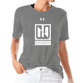 Ladies Under Armour Heather Grey Triblend Tee-Institutional Mark Vertical