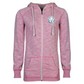 ENZA Ladies Hot Pink Marled Full Zip Hoodie-Primary Athletic Mark