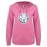 ENZA Ladies Hot Pink V Notch Raw Edge Fleece Hoodie-Primary Athletic Mark