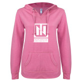 ENZA Ladies Hot Pink V Notch Raw Edge Fleece Hoodie-Institutional Mark Vertical