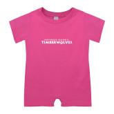 Bubble Gum Pink Infant Romper-Northwood University Timberwolves Wordmark