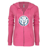 ENZA Ladies Hot Pink Light Weight Fleece Full Zip Hoodie-Primary Athletic Mark