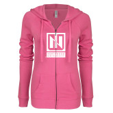 ENZA Ladies Hot Pink Light Weight Fleece Full Zip Hoodie-Institutional Mark Vertical