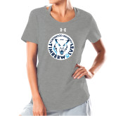 Ladies Under Armour Grey Charged Cotton Tee-Primary Athletic Mark