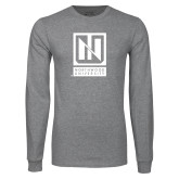Grey Long Sleeve T Shirt-Institutional Mark Vertical