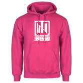 Fuchsia Fleece Hoodie-Institutional Mark Vertical
