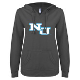 ENZA Ladies Dark Heather V Notch Raw Edge Fleece Hoodie-NU Athletic Mark