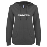 ENZA Ladies Dark Heather V Notch Raw Edge Fleece Hoodie-Northwood University Timberwolves Wordmark