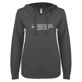 ENZA Ladies Dark Heather V Notch Raw Edge Fleece Hoodie-Where Will Your True North Lead You