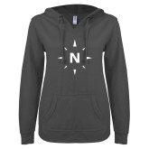 ENZA Ladies Dark Heather V Notch Raw Edge Fleece Hoodie-North Compass