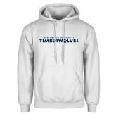 White Fleece Hoodie-Northwood University Timberwolves Wordmark