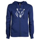 ENZA Ladies Royal Fleece Full Zip Hoodie-Timberwolf Head