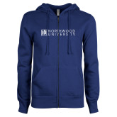 ENZA Ladies Royal Fleece Full Zip Hoodie-Institutional Mark Horizontal