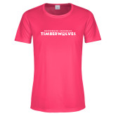 Ladies Performance Hot Pink Tee-Northwood University Timberwolves Wordmark