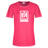 Ladies Performance Hot Pink Tee-Institutional Mark Vertical