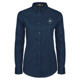 Ladies Navy Twill Button Down Long Sleeve-North Compass