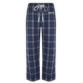 Navy/White Flannel Pajama Pant-Northwood University Timberwolves Wordmark